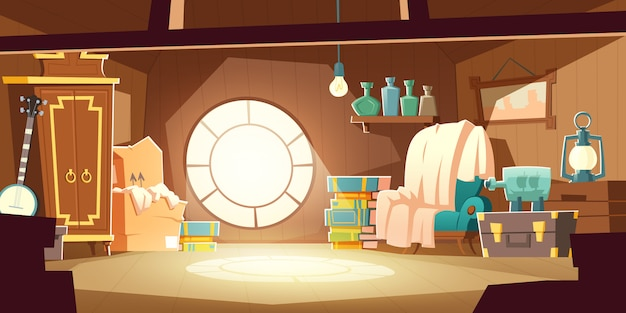 House attic with old furniture, cartoon background Free Vector