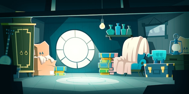 House attic with old furniture at night, cartoon Free Vector