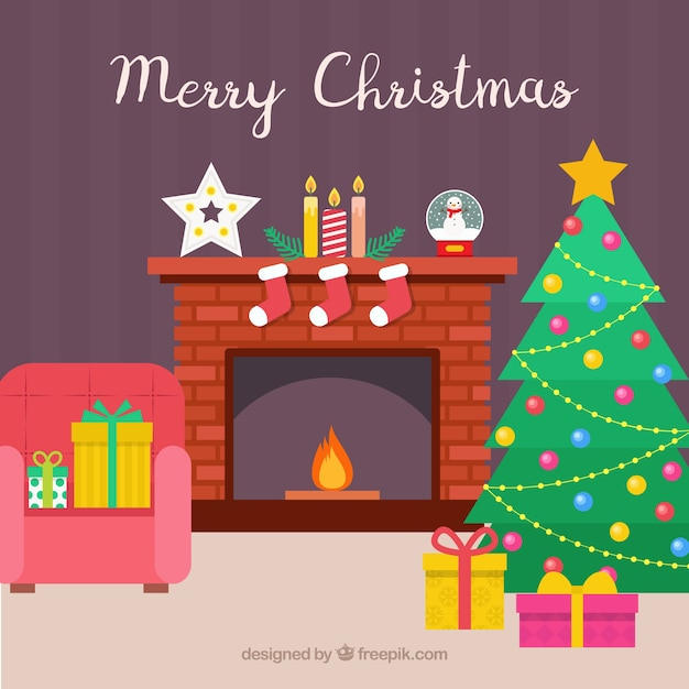 House background with fireplace and christmas decoration Photoshop santa in your living room free