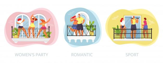 Балкон дома с людьми дома, женщина мужчина dlat в квартире карантина, иллюстрация. человек в городском строительстве имеет вечеринку, спорт и романтический набор. персонаж в окне. Premium векторы
