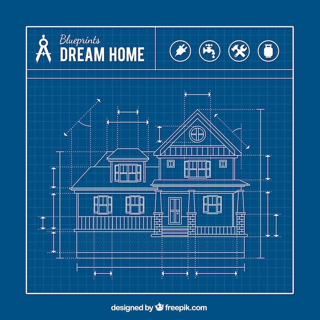 delightful free blueprints for homes #9: House blueprint Free Vector