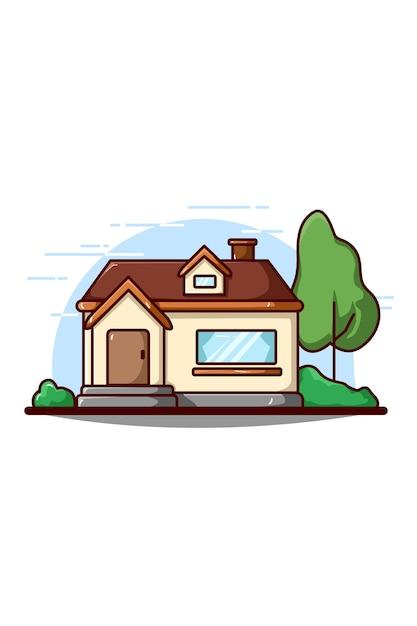 House building  icon illustration Premium Vector