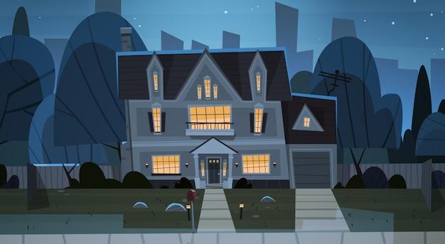 House building night view suburb of big city Premium Vector