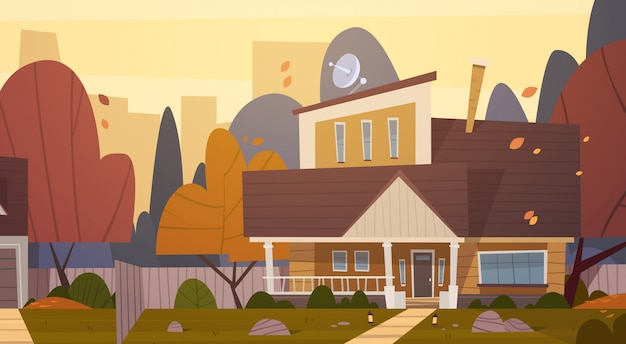 House building suburb of big city in autumn, cottage real estate cute town concept Premium Vector