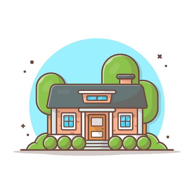 家を建てるベクトルアイコンイラスト。建物とランドマークアイコンコンセプトホワイト分離 Premiumベクター