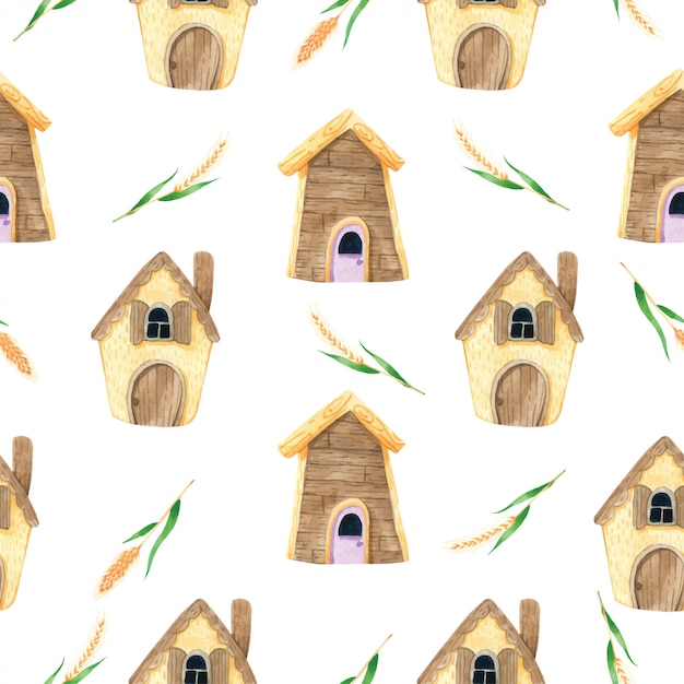 House cartoon cute with spike seamless pattern in watercolor Premium Vector
