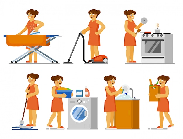 House chores set. housewife doing house work at home. isolated woman ironing clothes, cleaning floor with mop, hoovering, cooking, washing laundry, dishes. housekeeping, housework, household chores Premium Vector