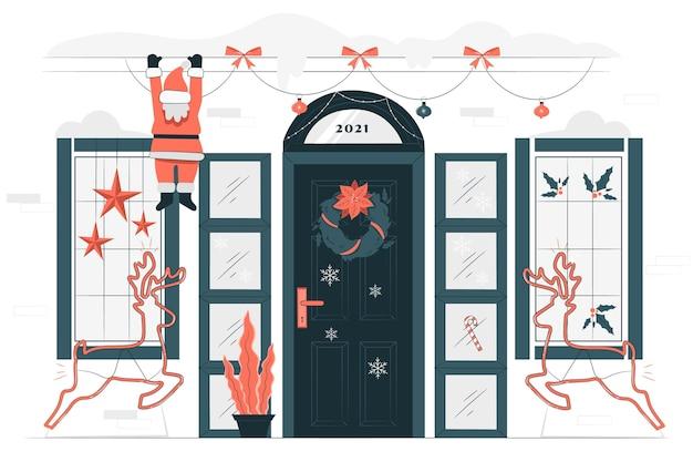 家のクリスマスの装飾の概念図 無料ベクター