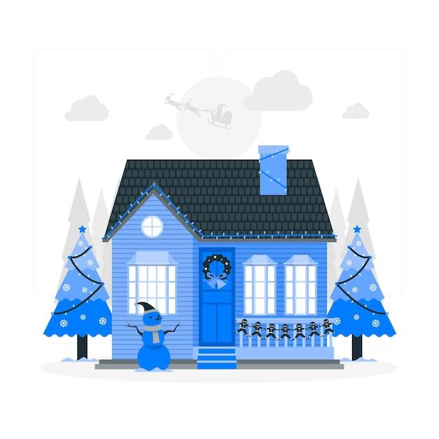 Illustrazione di concetto di decorazioni natalizie della casa Vettore gratuito