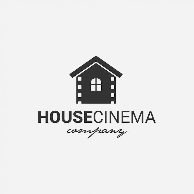 House cinema logo   film, cinema, director, tv company Premium Vector