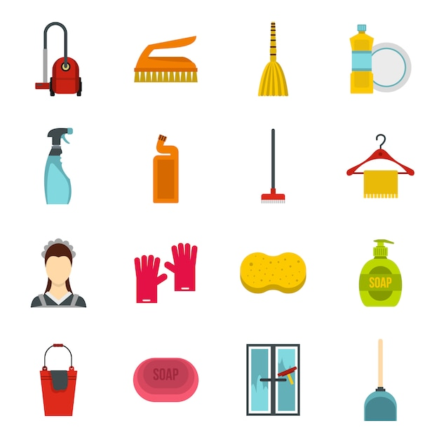 House cleaning icons set Premium Vector