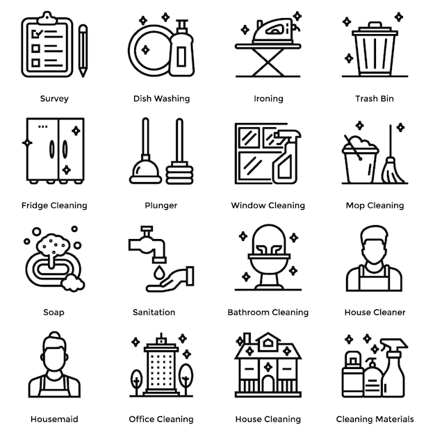 House cleaning line icons pack Premium Vector