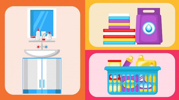 House cleaning supplies flat illustrations set Premium Vector