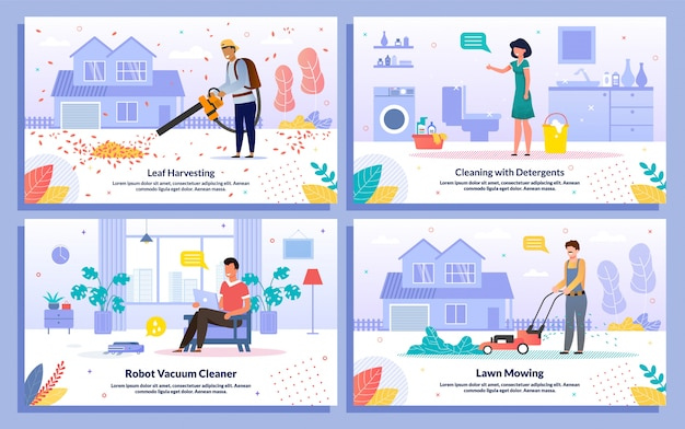 House cleaning works flat vector banners set Premium Vector