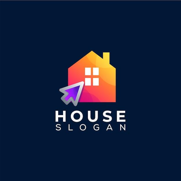 Дом нажмите градиентный дизайн логотипа Premium векторы