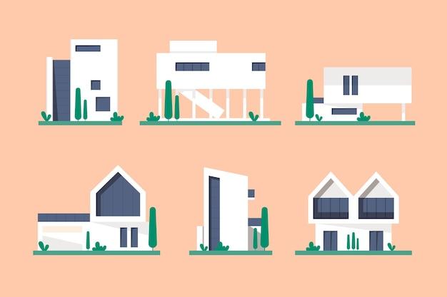 집 컬렉션 그림 된 개념 프리미엄 벡터