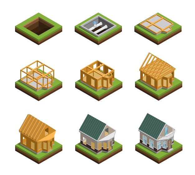 House construction icons set Free Vector