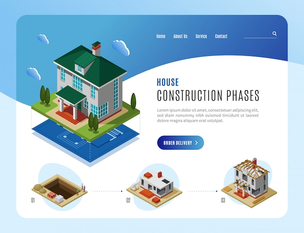 House construction phases advertising landing page template for web sites design isometric vector illustration Free Vector