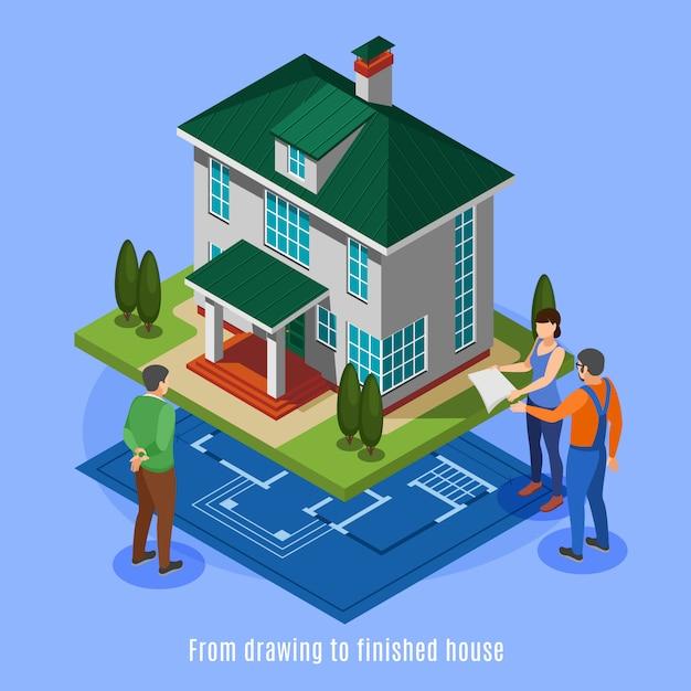 Fasi della costruzione della camera dal disegno all'illustrazione isometrica di vettore della casa finita Vettore gratuito