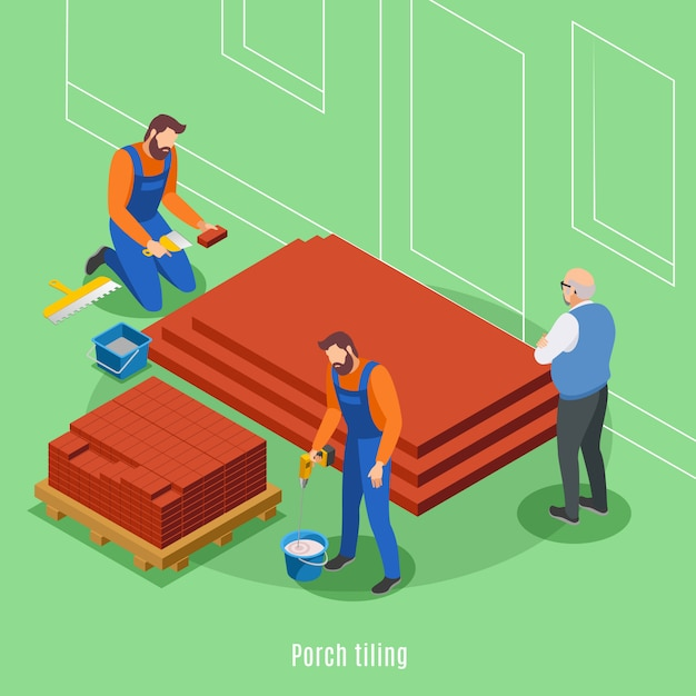 House construction phases with two men tiling of porch and elderly customer supervising work vector illustration Free Vector