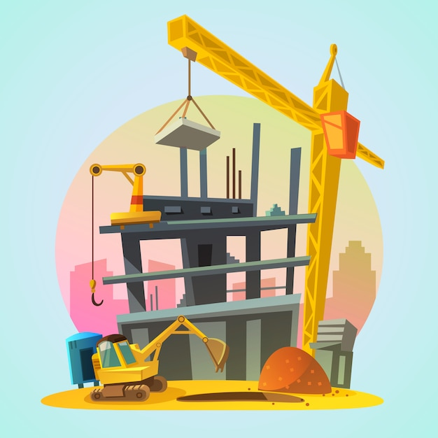 House construction process with cartoon\ building machinery retro style