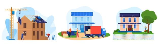 주택 건설 벡터 일러스트 레이 션을 설정합니다. 흰색에 고립 된 타운 하우스에서 집 벽과 지붕 구조, 트럭 가구 배달을 구성하는 작업 만화 평면 전문 작성기 문자 프리미엄 벡터