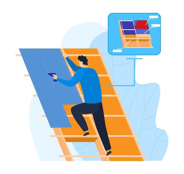 Строительство дома с инструментом, иллюстрации. мужчина работает дома, ремонтник на крыше, служба безопасности на крыше. плитка для кровли, жилищный рабочий и гонт, работа строителя возле неба. Premium векторы