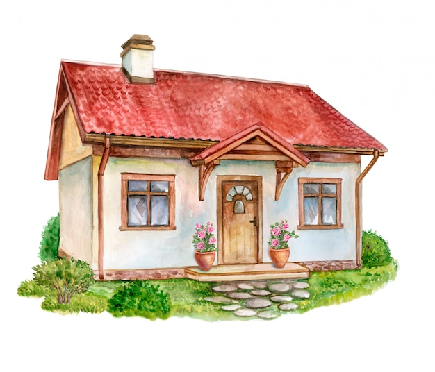 House, cottage with lawn Premium Vector