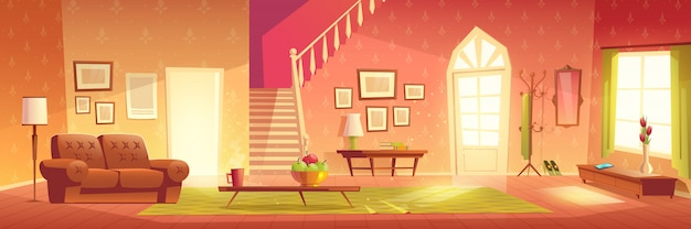 House cozy living room interior cartoon Free Vector