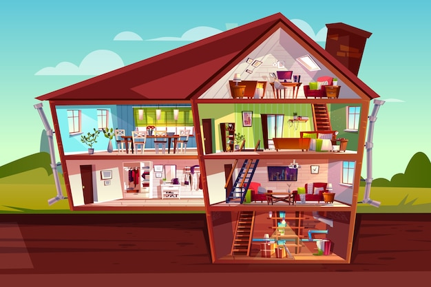 House cross section illustration of home interior and furniture. Free Vector