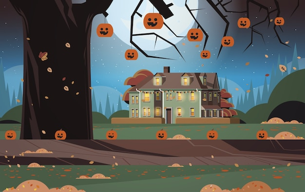 House decorated for halloween holiday celebration home building front view with pumpkins night landscape background Premium Vector