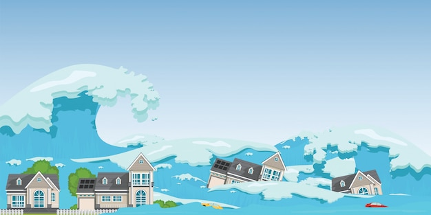 House destroyed by tsunami waves. Premium Vector