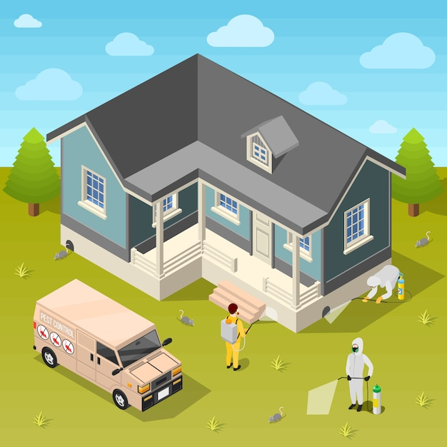 House disinfection isometric background Free Vector