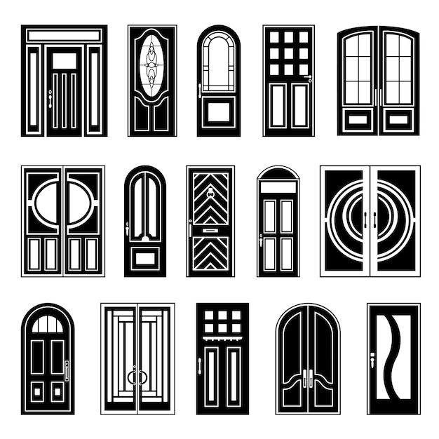 Дом двери черная дизайнерская коллекция Бесплатные векторы