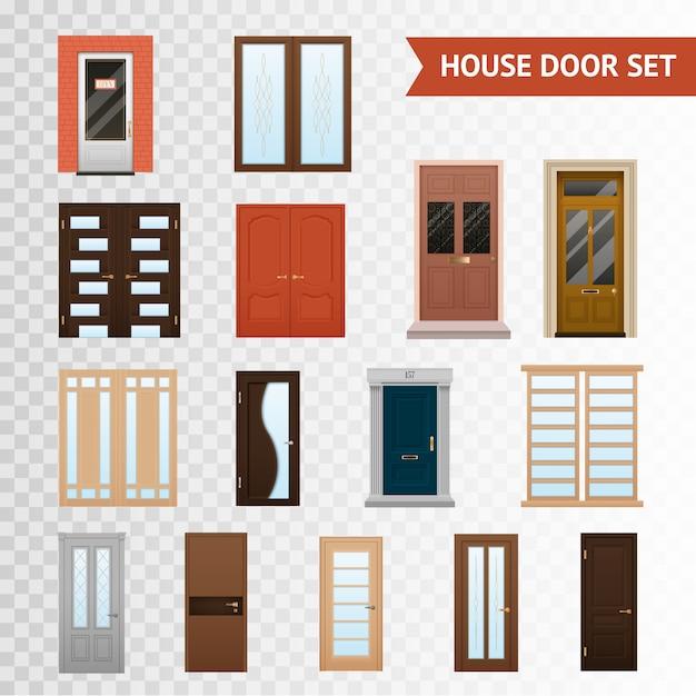 Набор прозрачных дверей для дома Бесплатные векторы