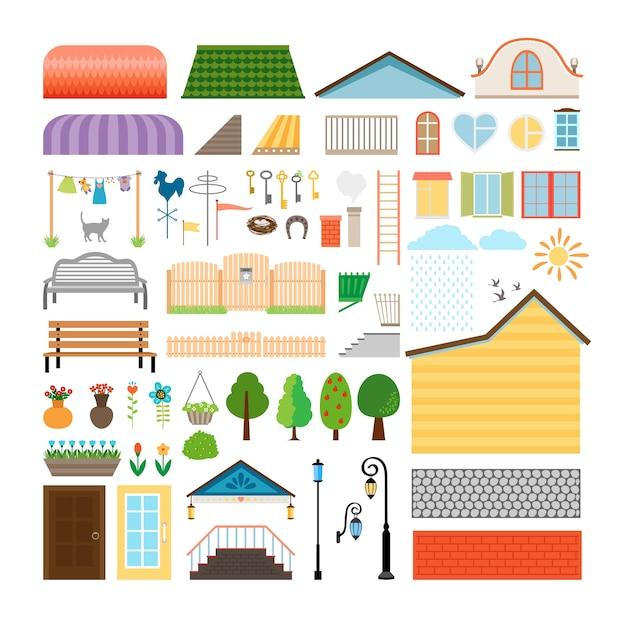 집 요소. 창문과 문, 벤치 및 가로등. 건축 건물, 랜턴 및 외관. 무료 벡터