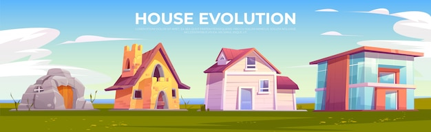 House evolution architecture Free Vector