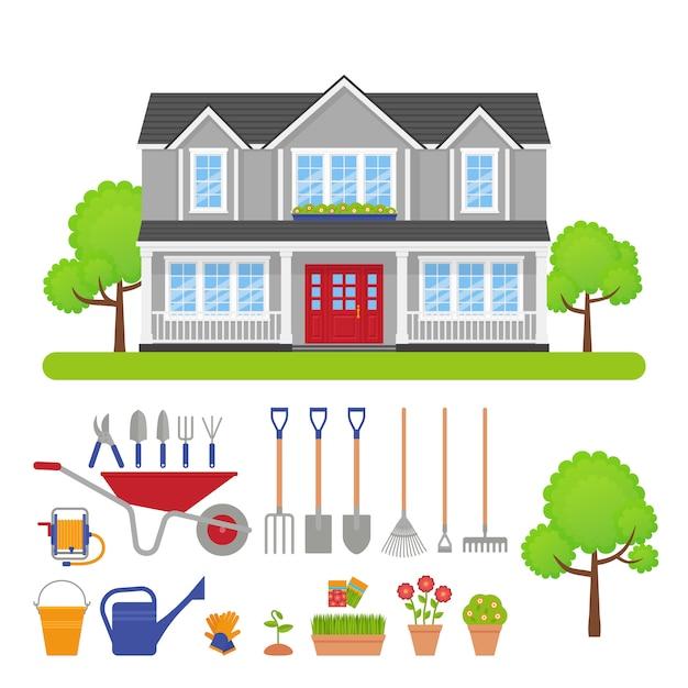 Экстерьер дома, иллюстрация комплекта садовых инструментов. Premium векторы