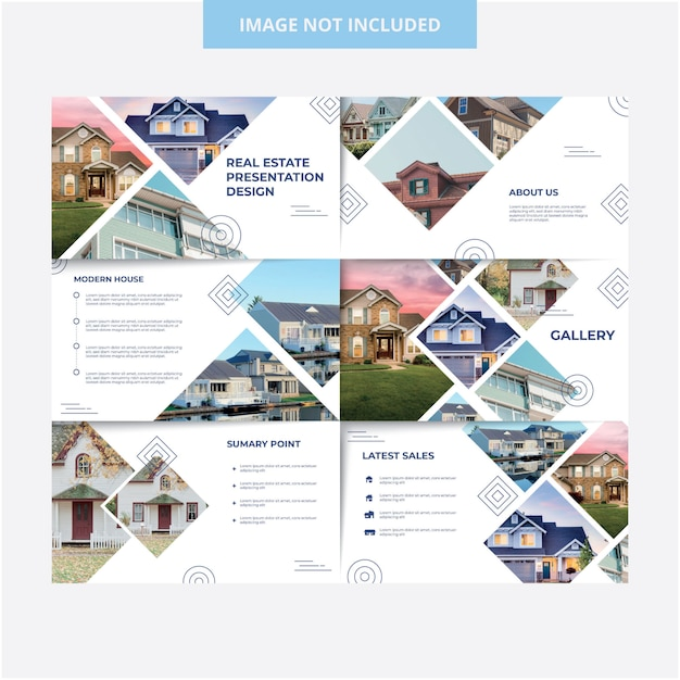 House exterior presentation template design Premium Vector