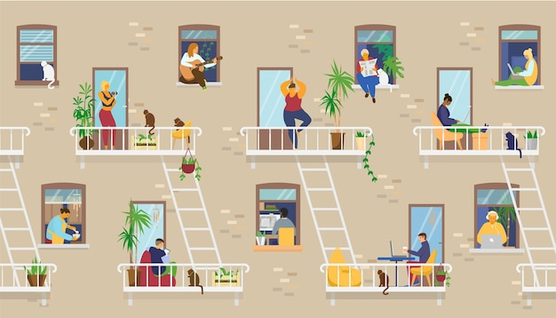 Внешний вид дома с людьми в окнах и на балконах, которые сидят дома и занимаются разными видами деятельности: учатся, играют на гитаре, работают, занимаются йогой, готовят, читают. иллюстрация. Premium векторы