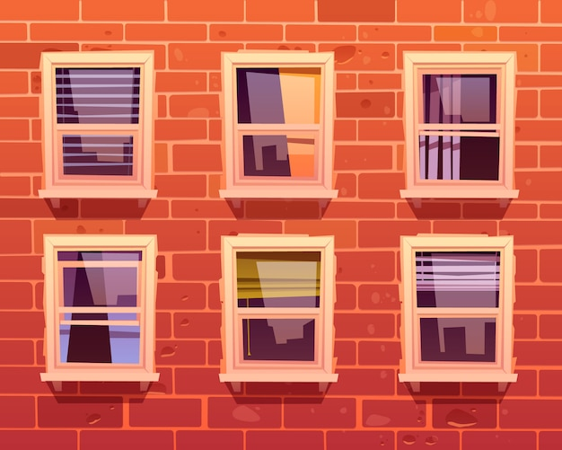 House facade with brick wall and windows Free Vector