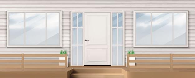 Фасад дома с белой дверью, окном, сайдингом Бесплатные векторы