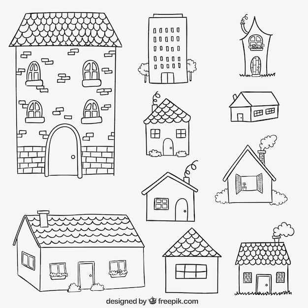 Lovely House Facades In Hand Drawn Style Free Vector