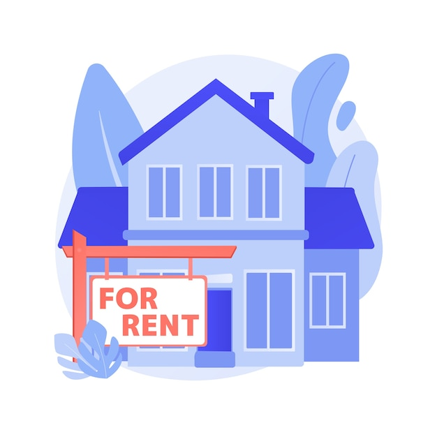 賃貸住宅抽象的な概念ベクトルイラスト。オンラインで家を予約する、最高の賃貸物件、不動産サービス、宿泊施設の市場、賃貸物件、毎月の賃貸料の抽象的な比喩。 無料ベクター