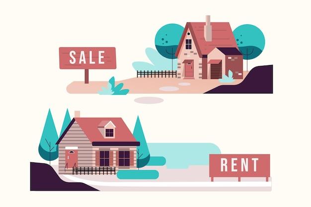 집 판매 및 임대 그림 프리미엄 벡터