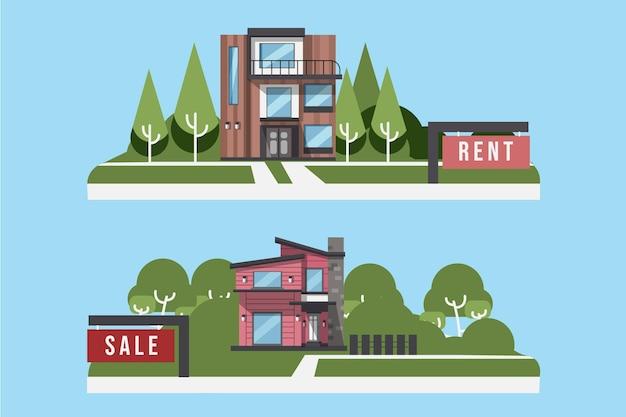 집 판매 및 임대 그림 세트 무료 벡터