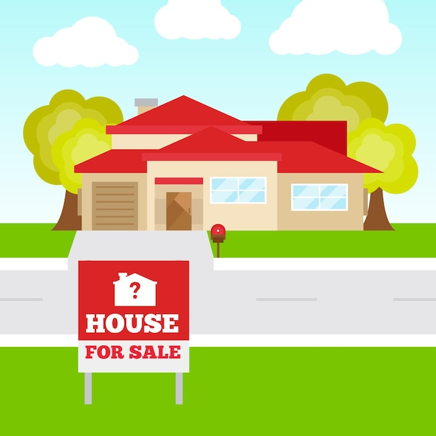 판매 평면 디자인 일러스트 집 무료 벡터