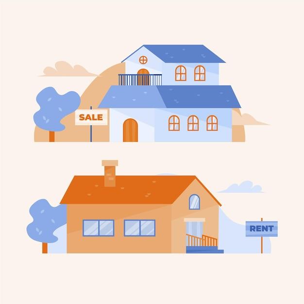 販売/賃貸コンセプトの家 無料ベクター