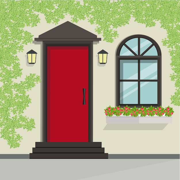 House Front Door And Window View, Vector Illustration Premium Vector