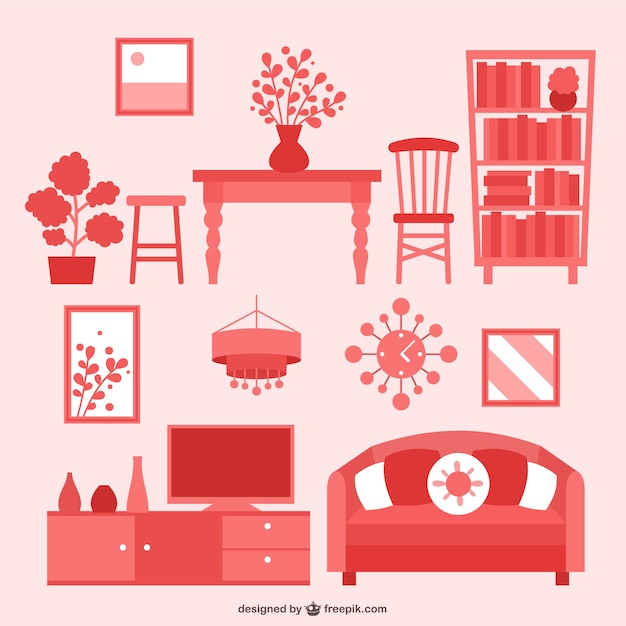 House Furniture Flat Icons Pack Free Vector
